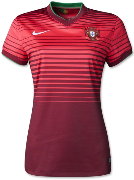 Kaos Bola Jersey Ladies Portugal Home World Cup 2014