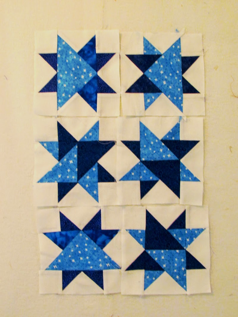 blue and white star quilt blocks