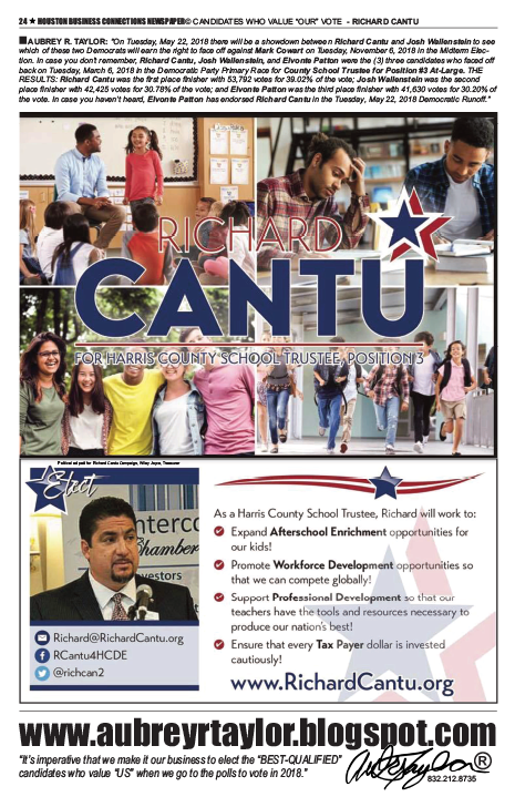 PAGE 24 - HOUSTON BUSINESS CONNECTIONS NEWSPAPER© RUNOFF ELECTION - PART 1 of 3