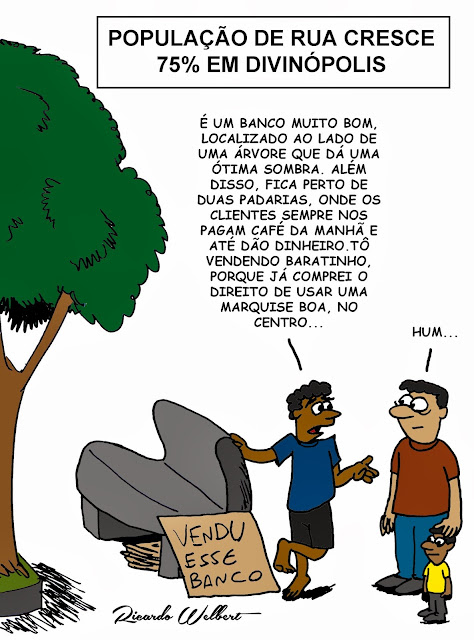 Charge para o Agora de terça-feira, 1° de setembro de 2013, sobre o crescimento da população de rua em Divinópolis, explicado em reportagem publicada pelo mesmo jornal