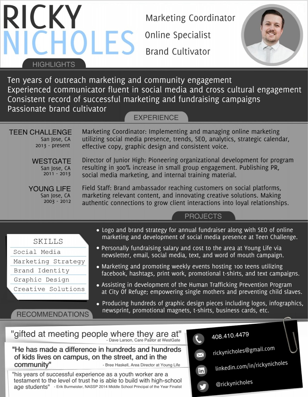 Sample creative marketing resume