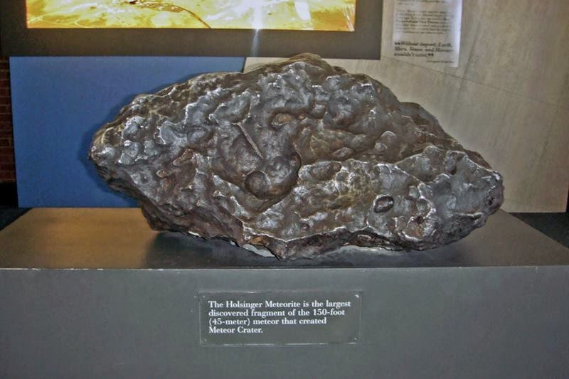 The largest fragment discovered from the meteorite that formed Meteor Crater, exhibited at the tourist center in Meteor Crater, Flagstaff, Arizona.