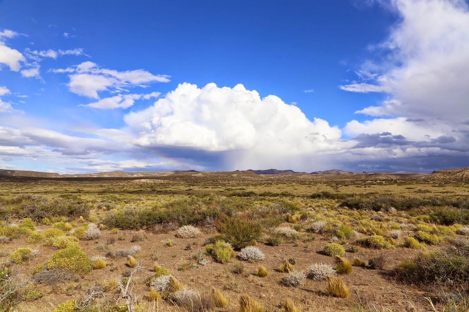 Chubut Province landscape under a blue sky.