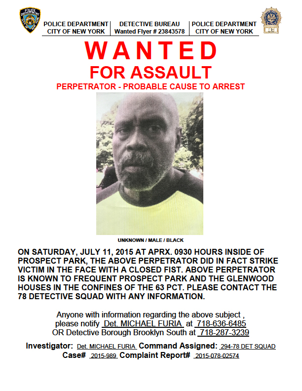KARMABrooklyn Blog ASSAULT IN PROSPECT PARK – Wanted Person Poster