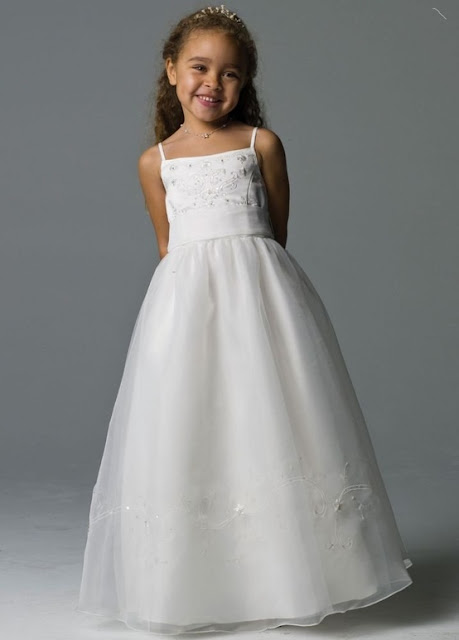 Flower Girl Dresses - David's Bridal Flower Girl Spagetti Strap Organza Ball Gown Style