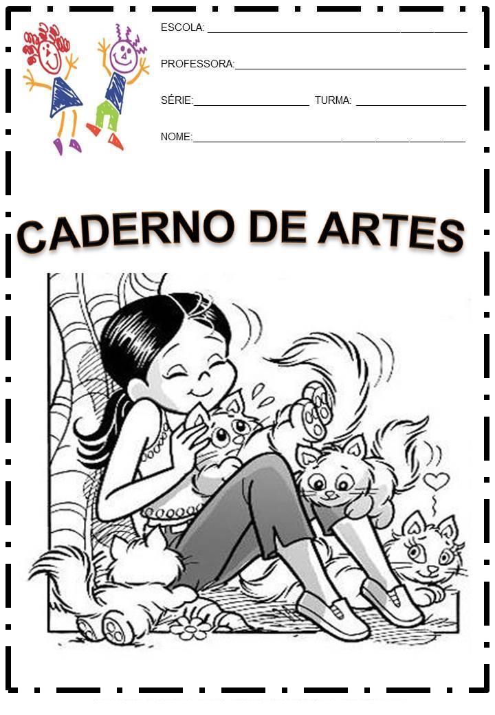 Modelo De Capa De Caderno Da Turma Da M  Nica Jovem Para Colorir E