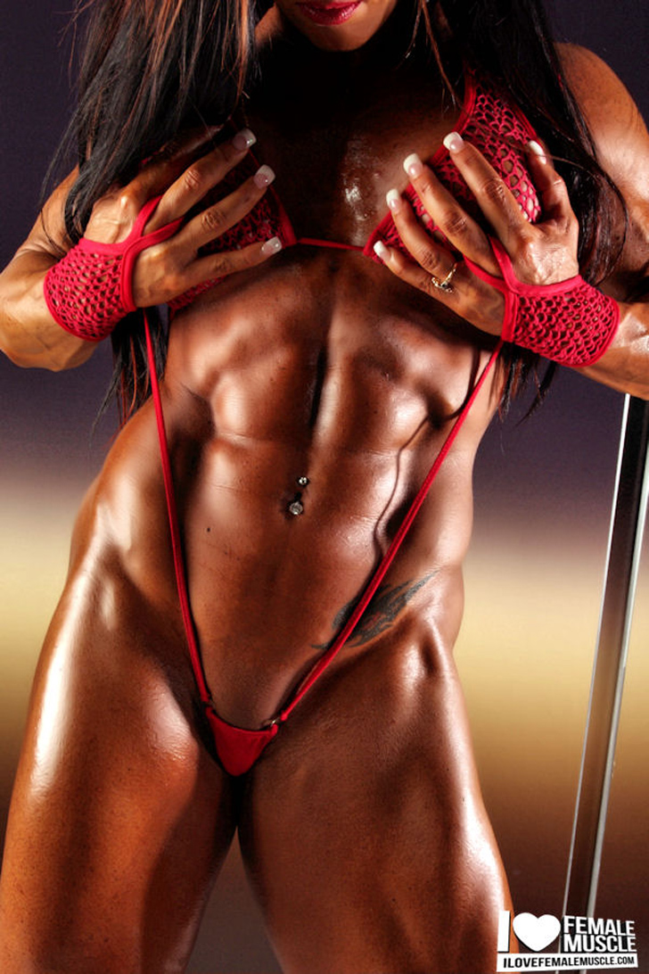 Monica Martin Flexing Her Shredded Abs In Red
