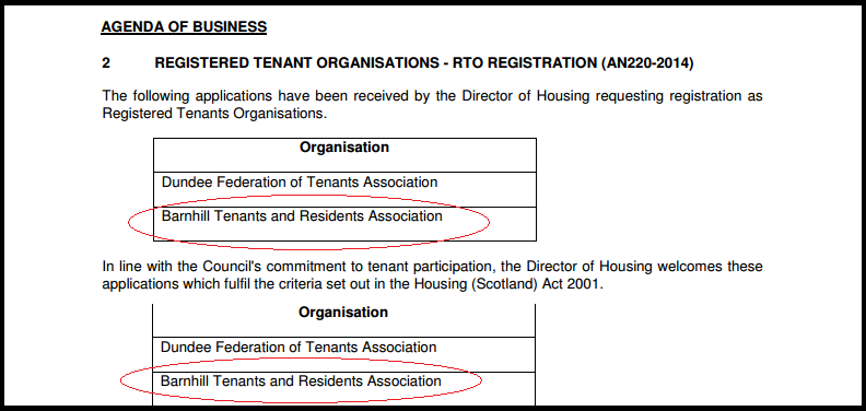 Housing Committee Report 27.10.2014 Dundee City Council about recognition of Barnhill Tenants' and Residents' Association