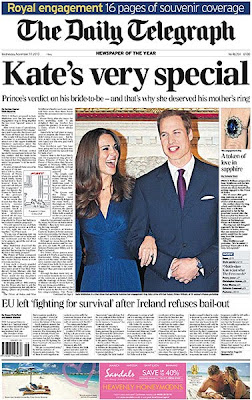 Daily Telegraph front page, November 2010
