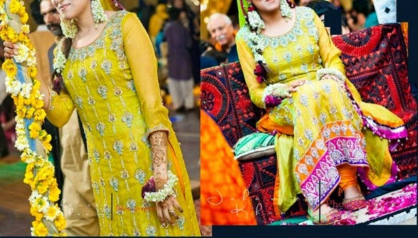Mehndi Function Dresses 2015 : Pakistani mehndi dresses designs