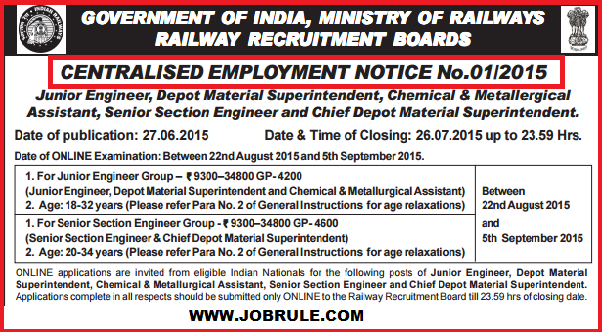Railway Recruitment Board-RRB CEN 01/2015 (JE & SSE Group) Advertisement & Online Application Procedure June/July 2015