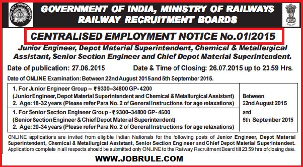 Railway Recruitment Board-RRB CEN 01/2015 (JE & SSE Group) Advertisement & Online Application Procedure June/July 2015