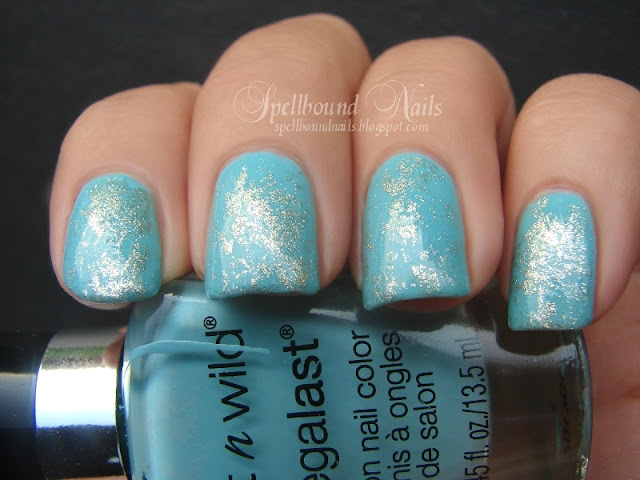 nails nailart nail art mani manicure Spellbound Turquoise Gemstones gems Wet n Wild I Need a Refresh-Mint Sally Hansen Antiqued Gold Crackle nailpolish polish inspired plastic wrap cling sponging