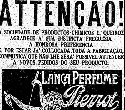 Propaganda do Lança Perfumes Pierrot que faltou no mercado durante o carnaval de 1931.