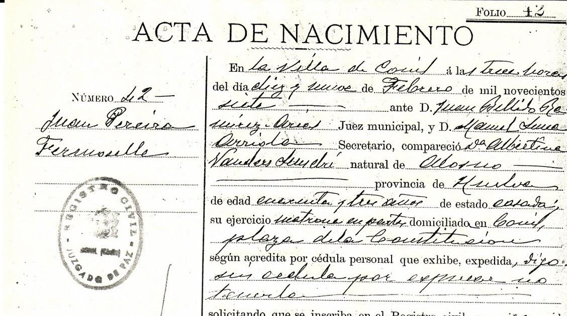 Todo sobre mi abuelo: Partida de Nacimiento