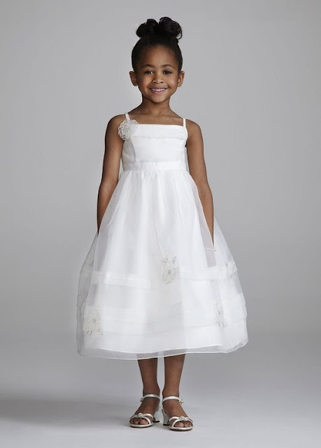 Flower Girl Dresses - David's Bridal Flower Girl Spaghetti Strap Organza with 3D Floral Details