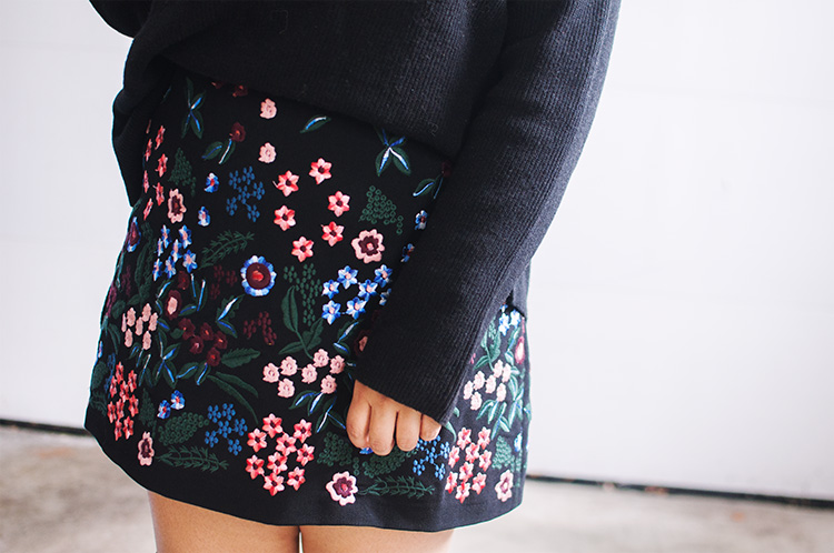 zara embroidered skirt, zara black floral skirt, zara fall winter skirt