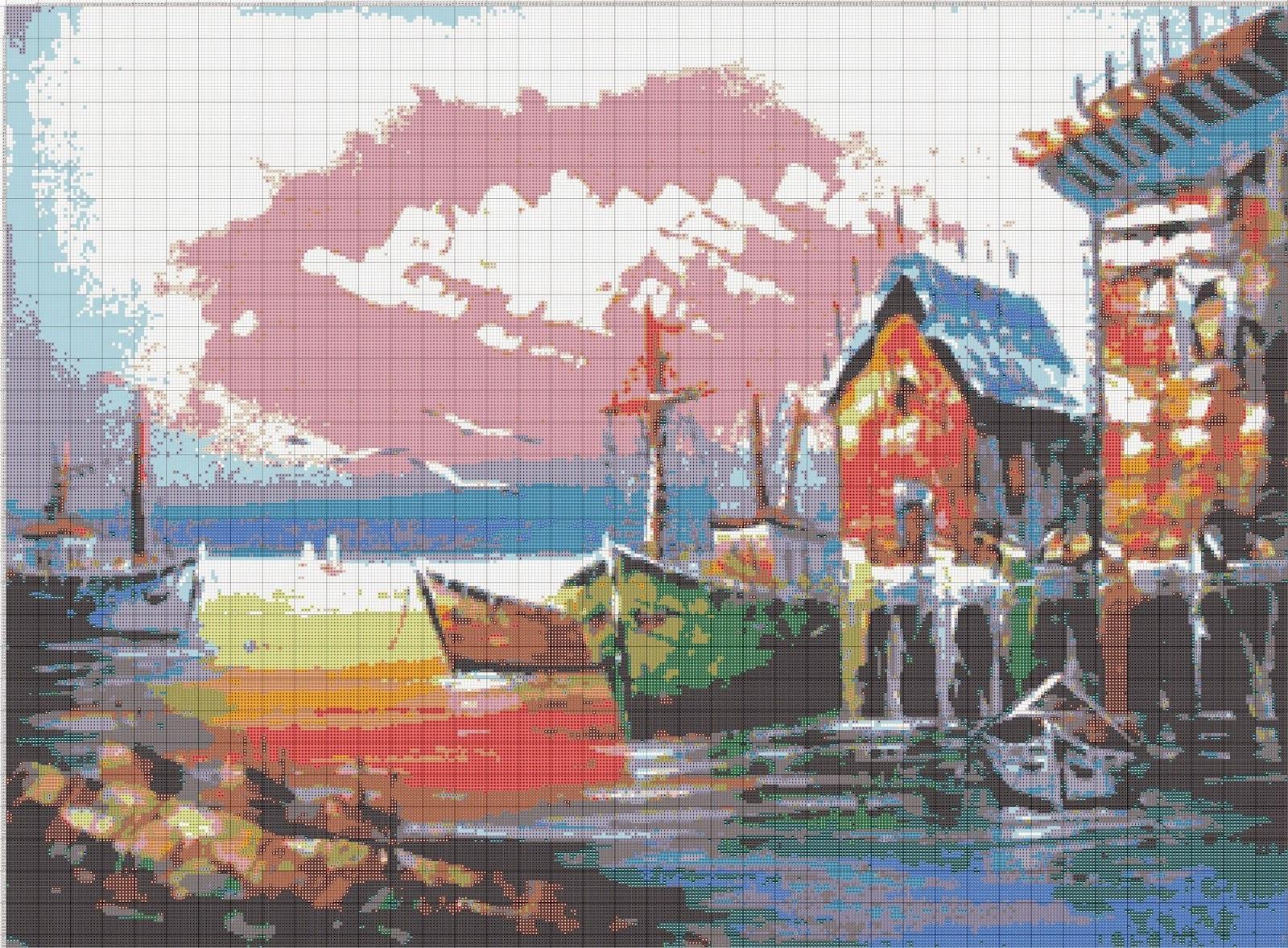 Gambar Pola Kristik Pemandangan Pelabuhan