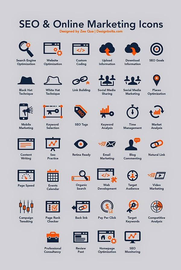 40 SEO & Online Marketing Icons