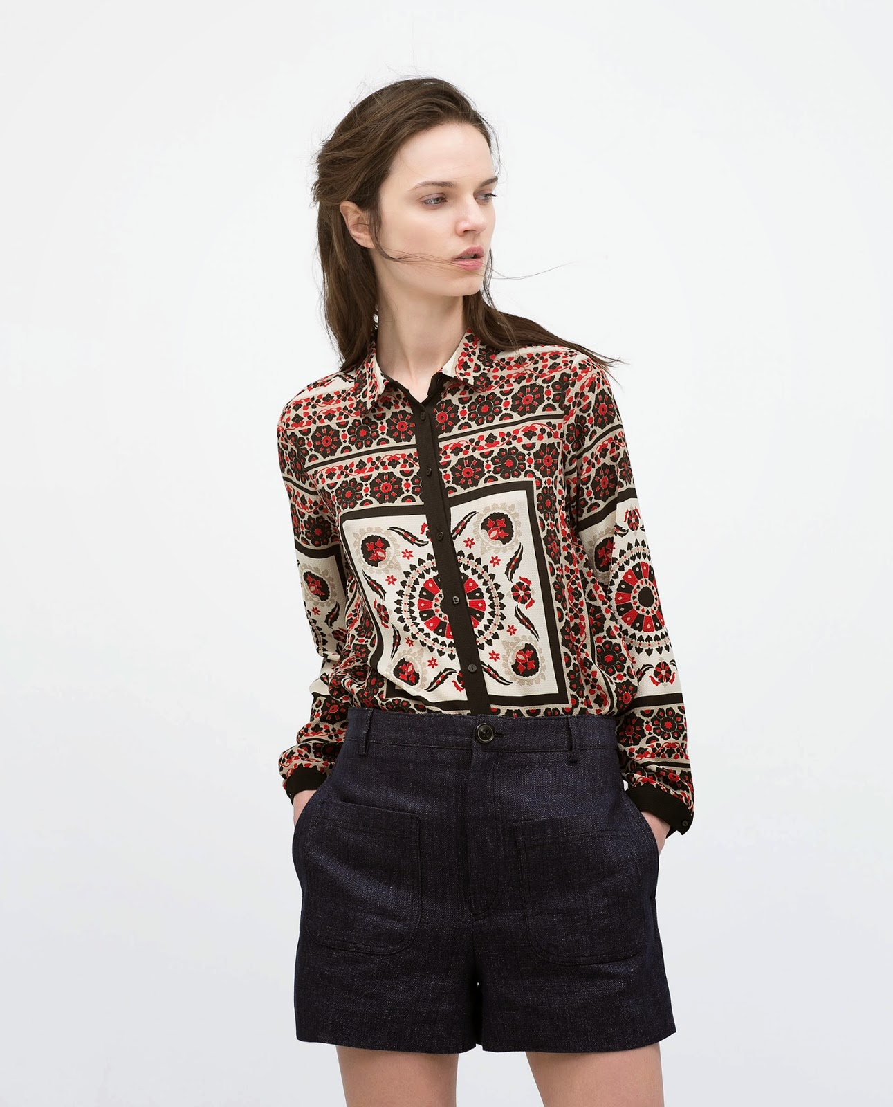 zara patterned blouse,
