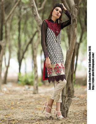 fancy-shirt-in-maroon-and-black-zainab-chottani-eid-pret-2015