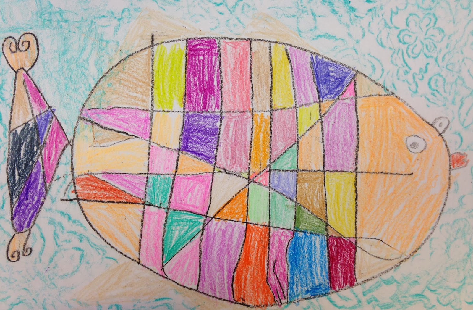 art room blog  kindergarten mondrian fish