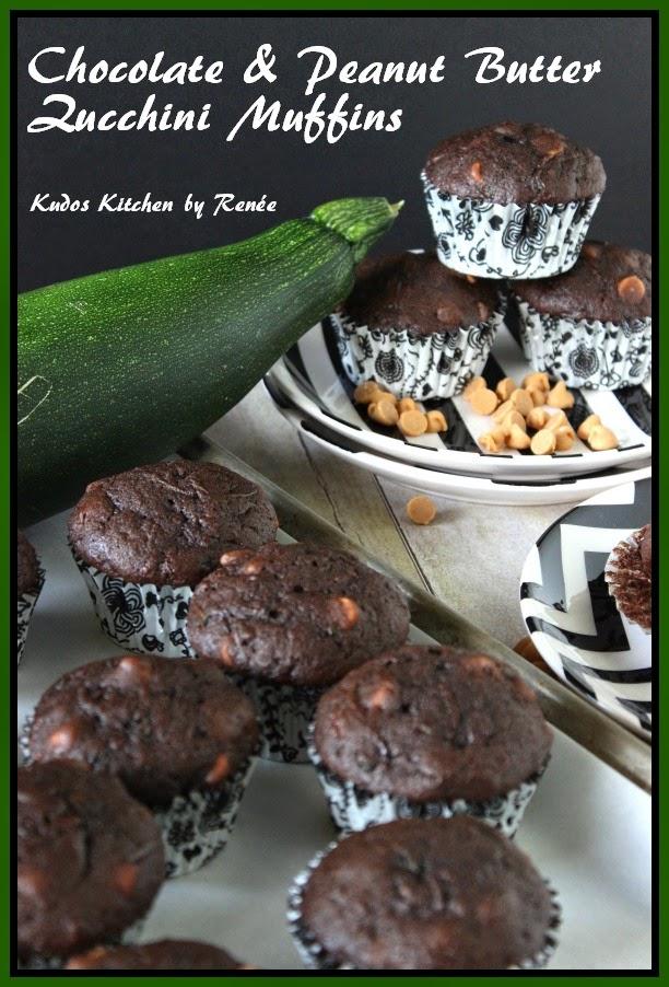 Chocolate and Peanut Butter Zucchini Muffins