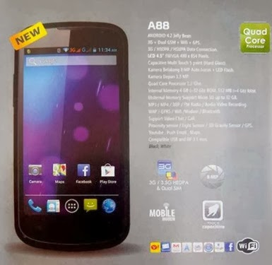 Evercoss A88 HP Jelly Bean Quad Core harga dibawah 1.5 juta