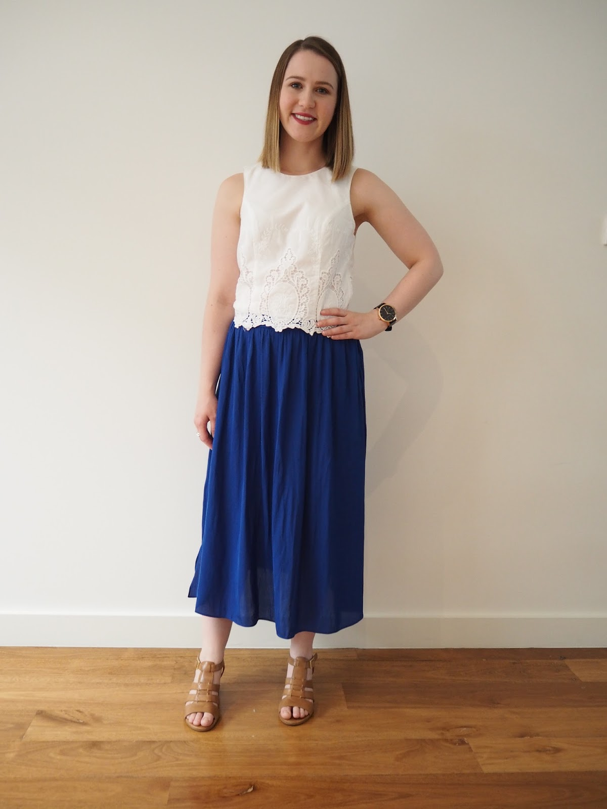 summer outfit, outfit, casual outfit, christmas day outfit, portmans cropped top, sportsgirl cobalt midi skirt, wittner tan sandals, the horse watch