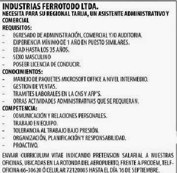 Industrias Ferrotodo necesita Asistente Administrativo