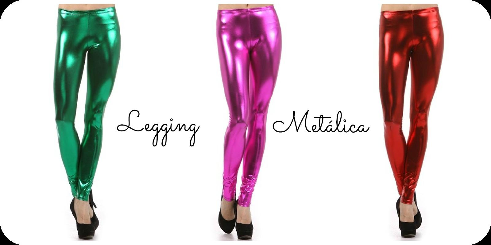 Calça legging metalizada