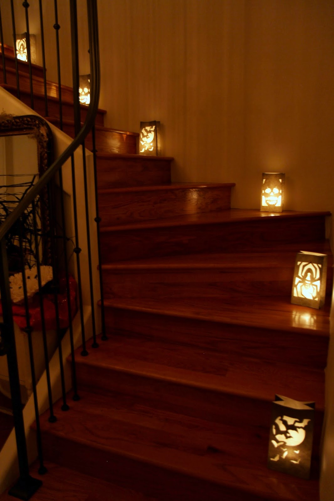Luminarias up the stairs: Spooky Glam Halloween Party