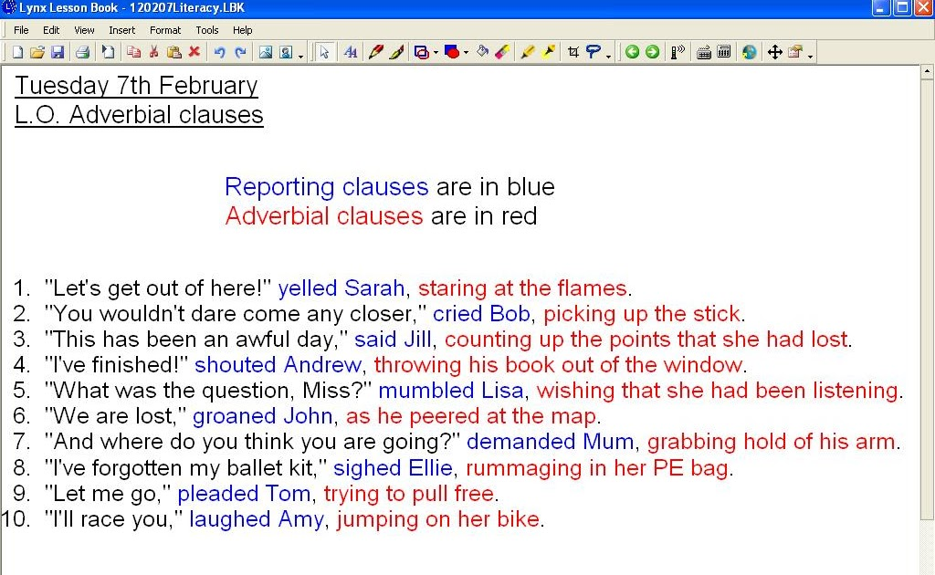 Mr Howes Class Literacy Reporting Clauses And Adverbial Clauses