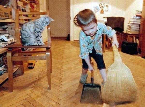 Смешные дети за работой