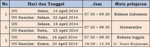 Jadwal UN 2014 SMK-MAK