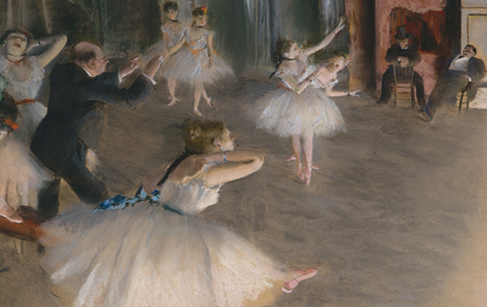 The Rehearsal Onstage (detail), c. 1874, by Edgar Degas (1834–1917) illustrating article by Richard Klass about overselling available interests.