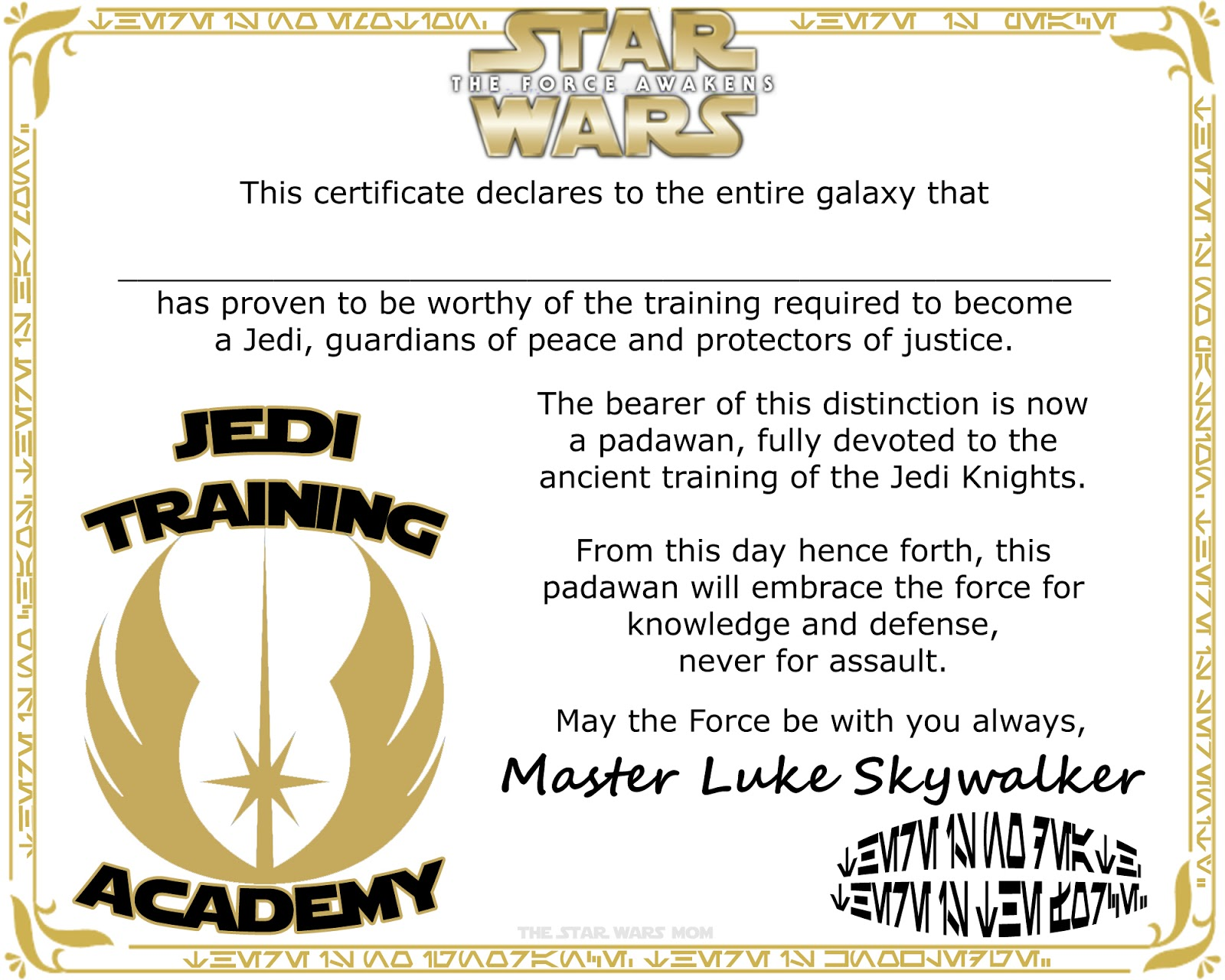 Star wars jedi knight training academy certificate for Jedi certificate template free