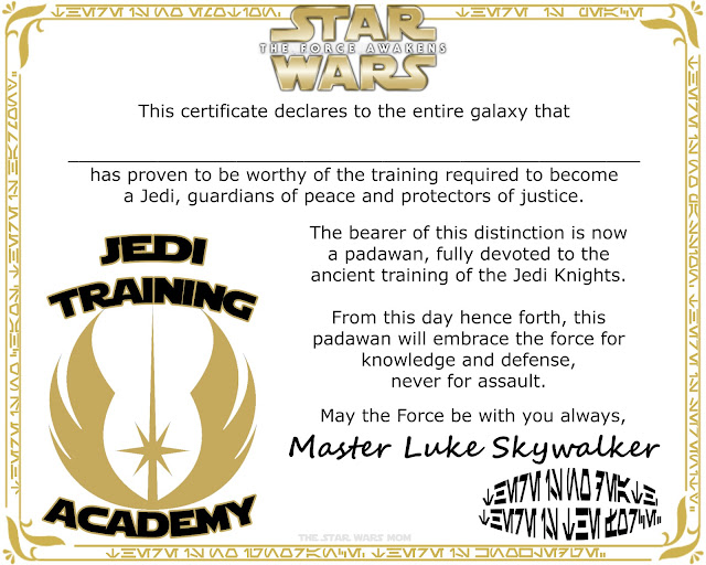 Star Wars The Force Awakens Jedi Training Academy Certificate, Degree, or Diploma Free Printable