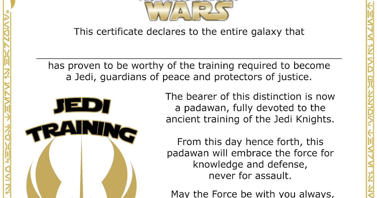 The Star Wars Mom   Culinary Artist   The Star Wars Chef: Star Wars   Jedi  Knight Training Academy Certificate   Free Printable