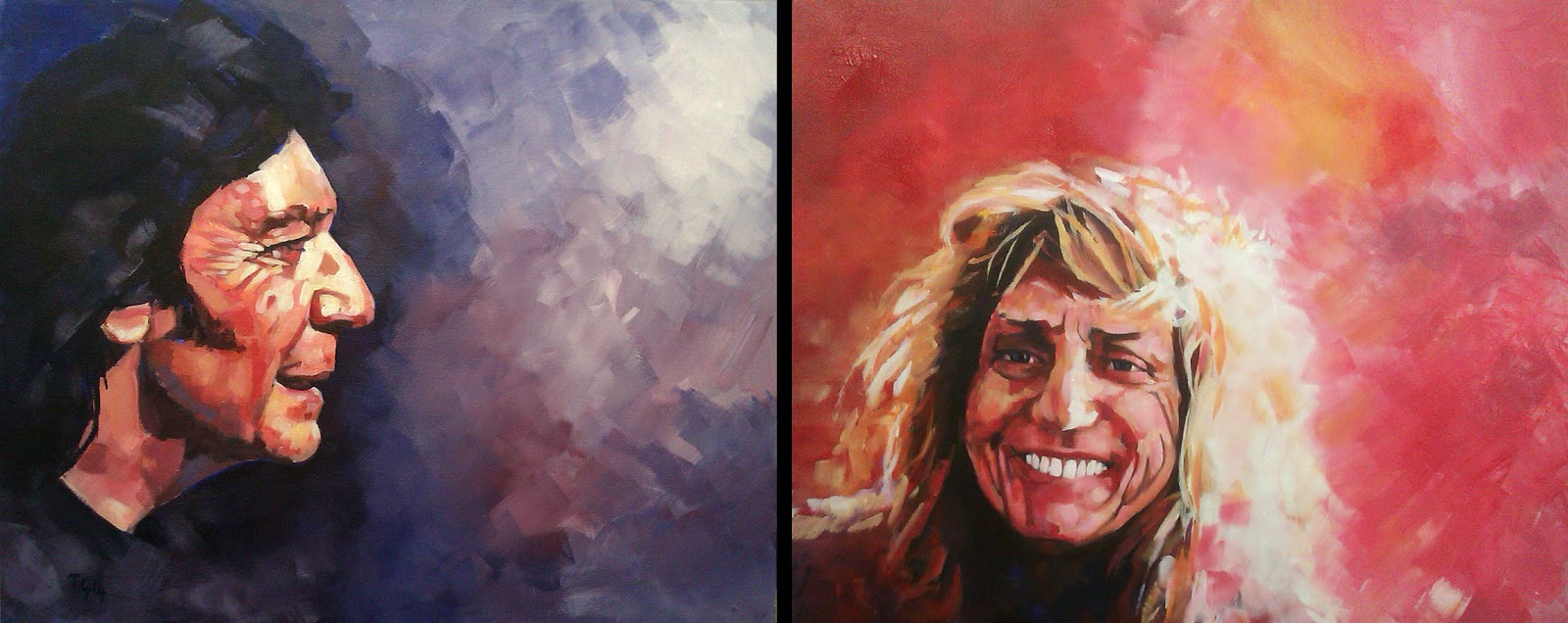 Steve Hackett and David Coverdale painted by Anthony Greentree