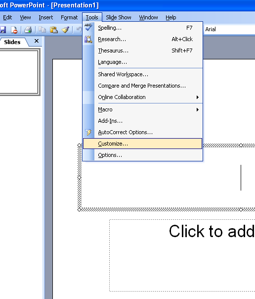 Customize menus in powerpoint 2003 microsoft office support 1 click on tools menu and click on customize toneelgroepblik Gallery
