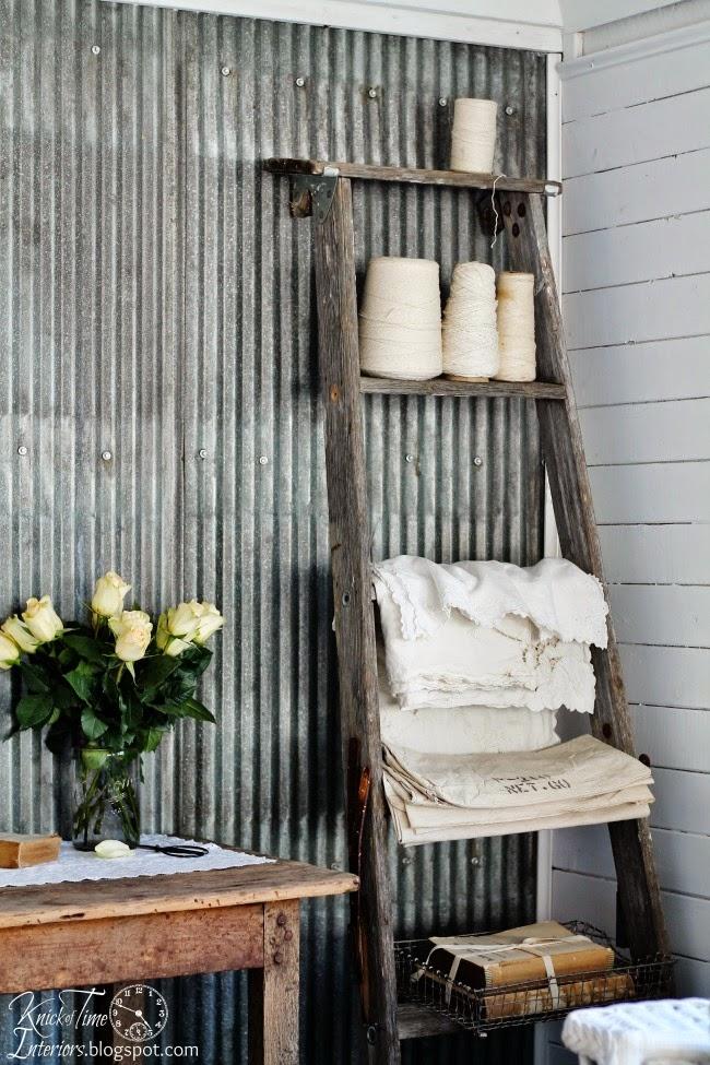 Repurposed Ladder Shelf via Knick of Time