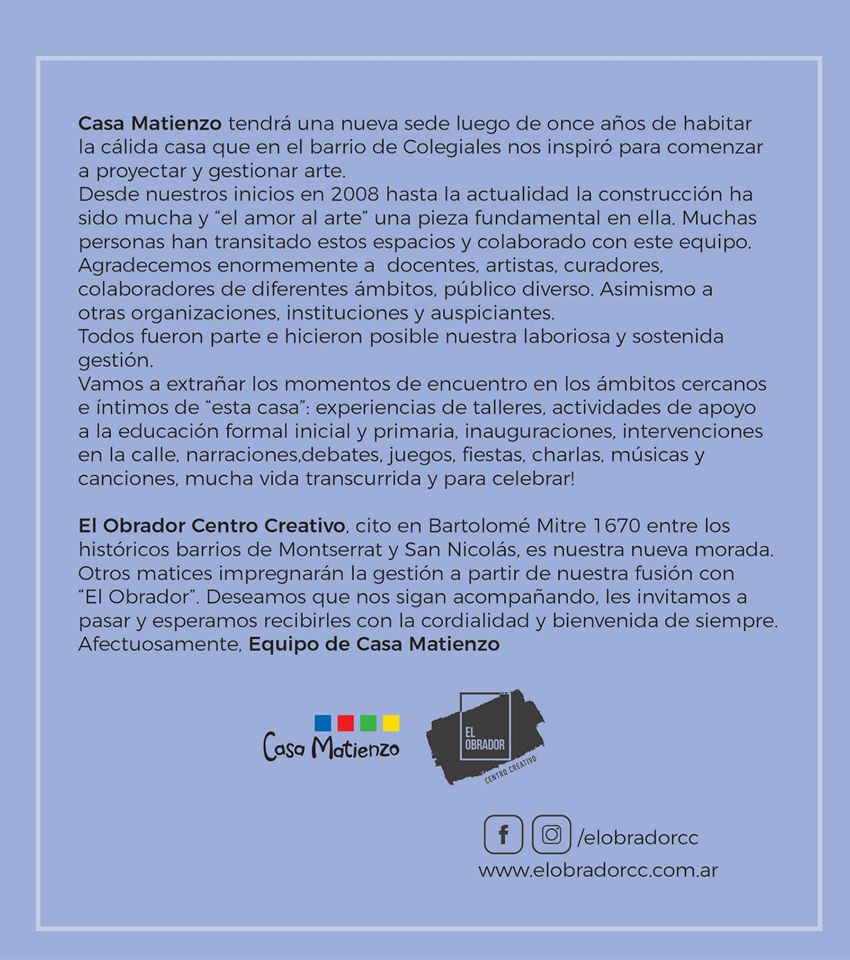IMPORTANTE: Casa Matienzo se traslada a una nueva sede!