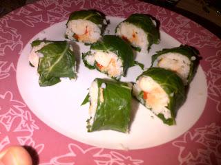 Sushi de acelga con atun, surimi, pimiento morron y queso