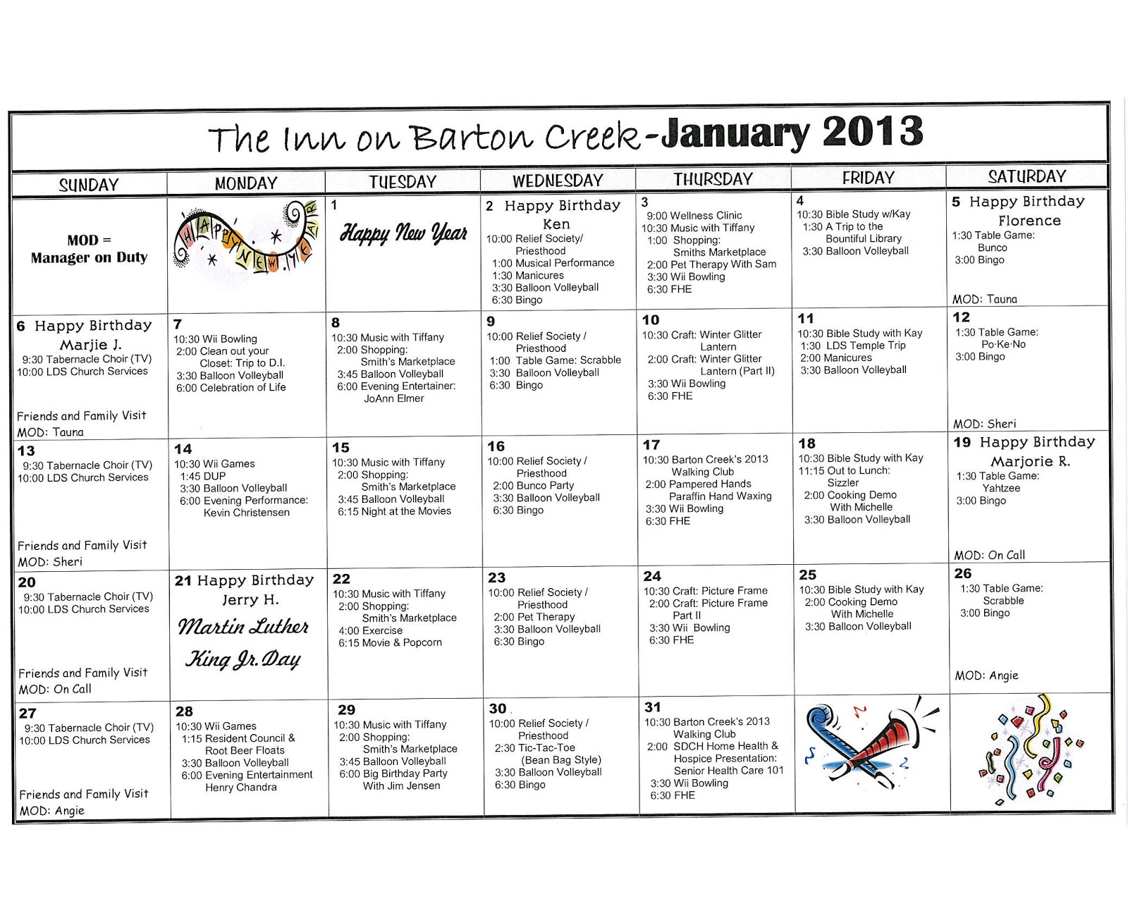 Calendar Ideas For January : Barton creek assisted living january activities calendar