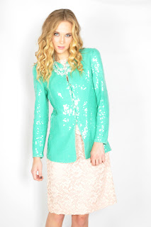Vintage 1980's mint green sequin embellished trophy jacket.