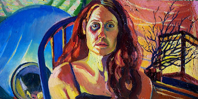 self portrait, head and shoulders in oil paint on canvas