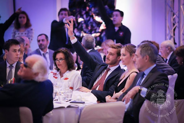 Princess Stephanie of Monaco, Pierre Casiraghi and his wife Beatrice Casiraghi (Borromeo) and Louis Ducruet, his companion Marie attended a charity auction event