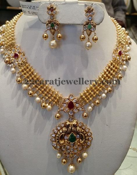 60 Gms Kundan Necklace Antique Pendant Jewellery Designs