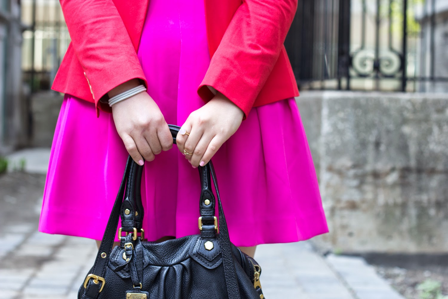 Hot-Pink-Skater-Skirt, JCrew-Red-Blazer, spring-outfit, colour-blocking